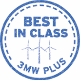 "Badge that reads ""Best In Class: 3MW Plus"""